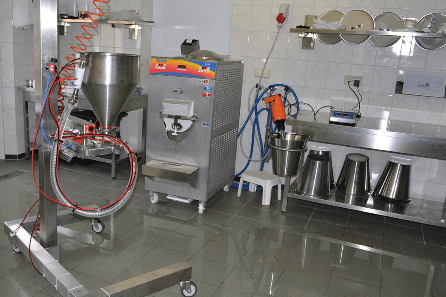 The production room including all necessary equipment to produce ice cream