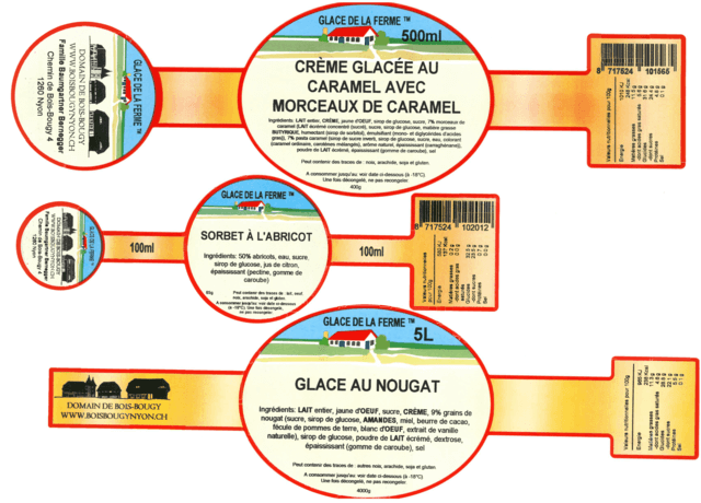 Ice cream labels including nutritional values