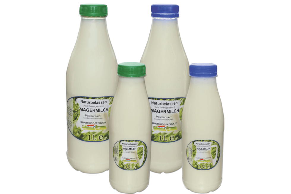 pasteurized full and skimmed milk in bottles of different sizes